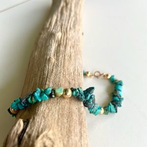 Jewelry - Turquoise Rock Stone Bracelet with Gold Beads